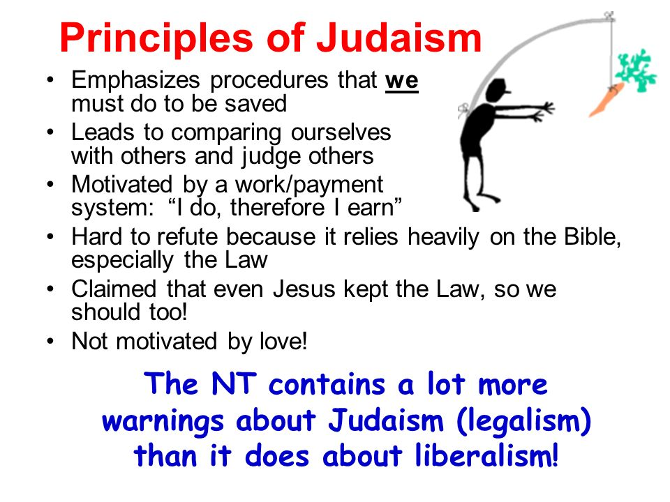 Principles of Judaism Emphasizes procedures that we must do to be saved.