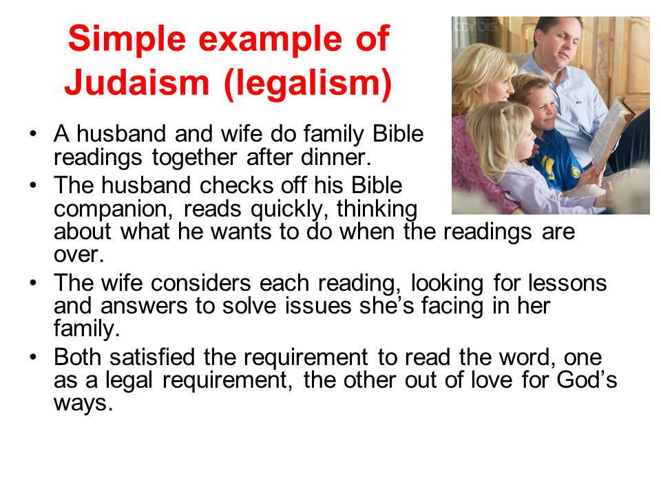 Simple example of Judaism (legalism)