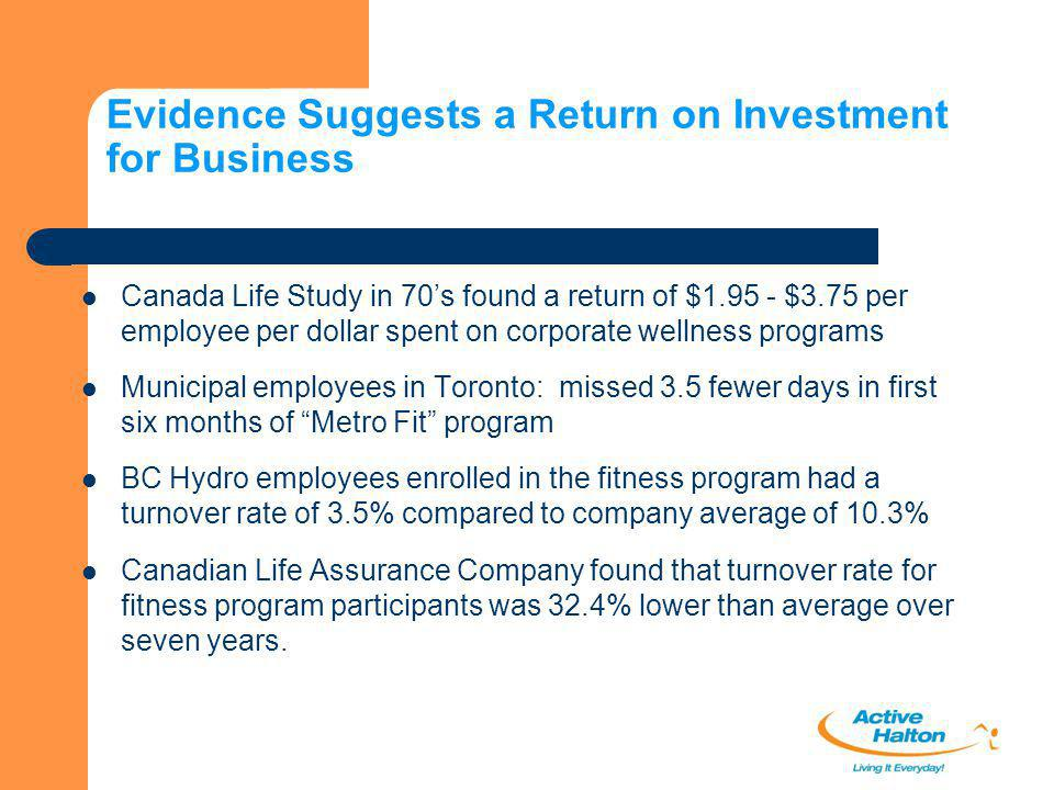 Evidence Suggests a Return on Investment for Business