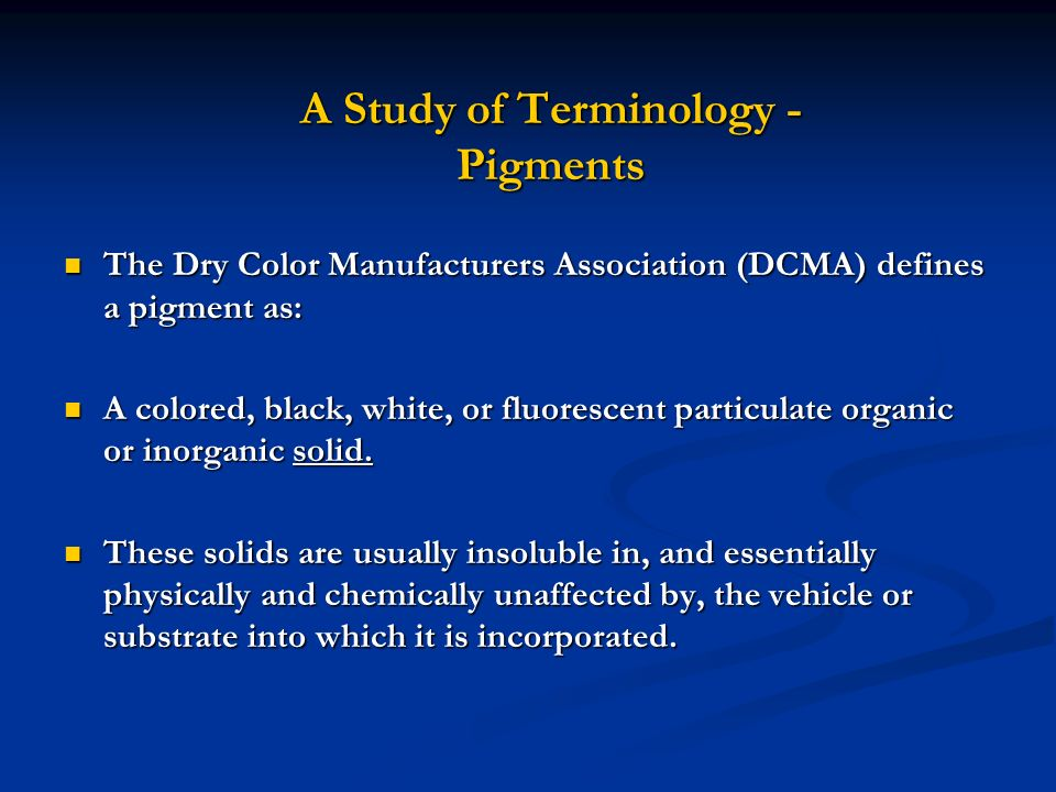 A Study of Terminology - Pigments