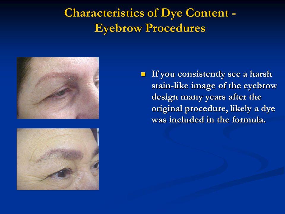 Characteristics of Dye Content - Eyebrow Procedures