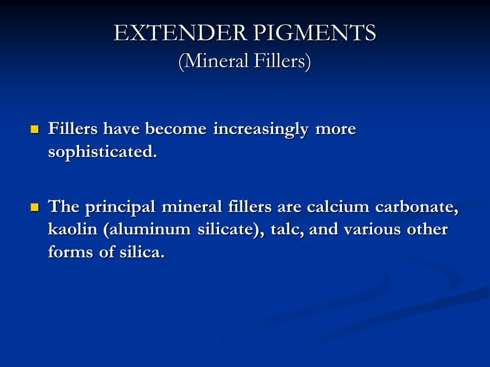 EXTENDER PIGMENTS (Mineral Fillers)
