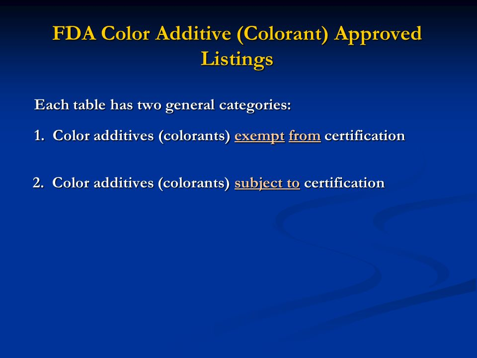 FDA Color Additive (Colorant) Approved Listings