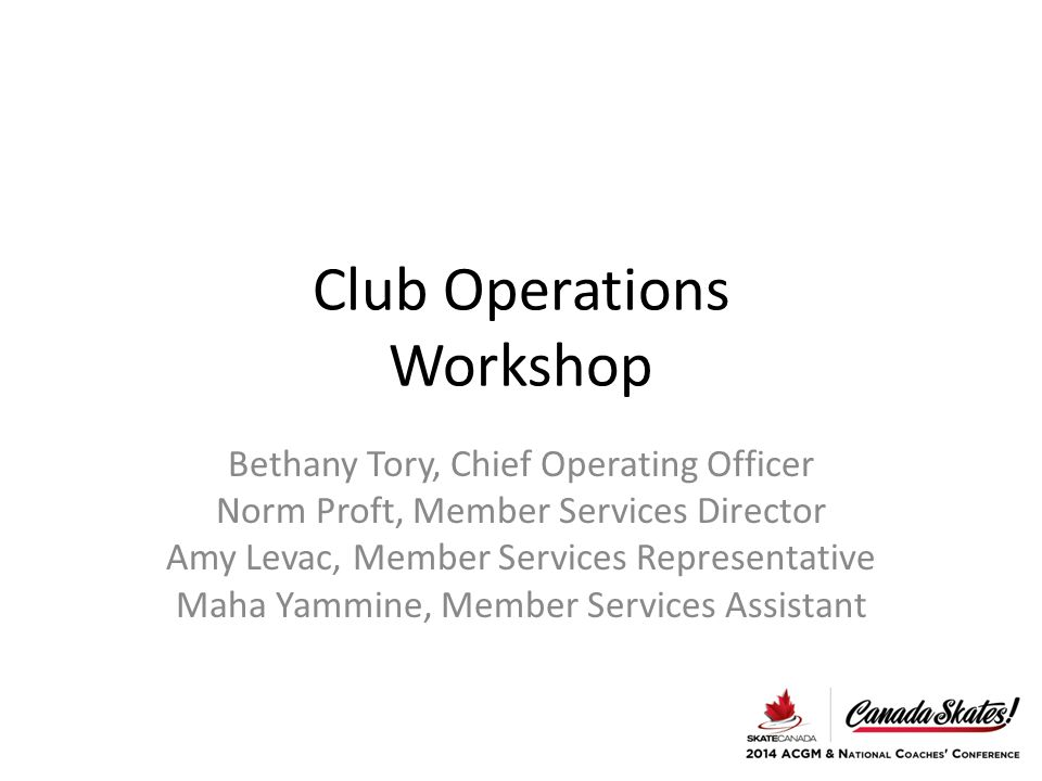 Club Operations Workshop