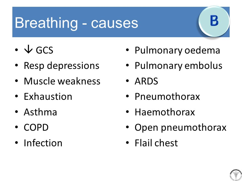 B Breathing - causes  GCS Resp depressions Muscle weakness Exhaustion