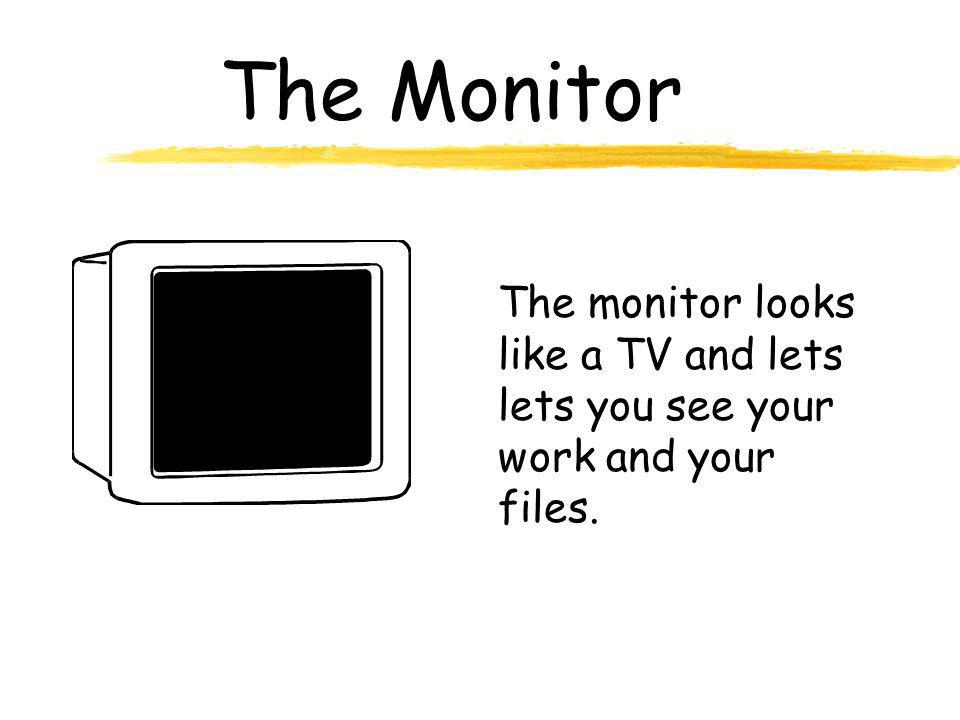 The Monitor The monitor looks like a TV and lets lets you see your work and your files.