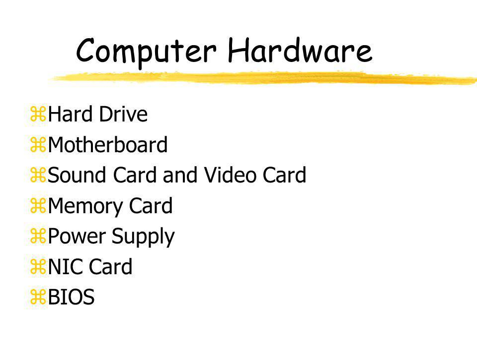 Computer Hardware Hard Drive Motherboard Sound Card and Video Card