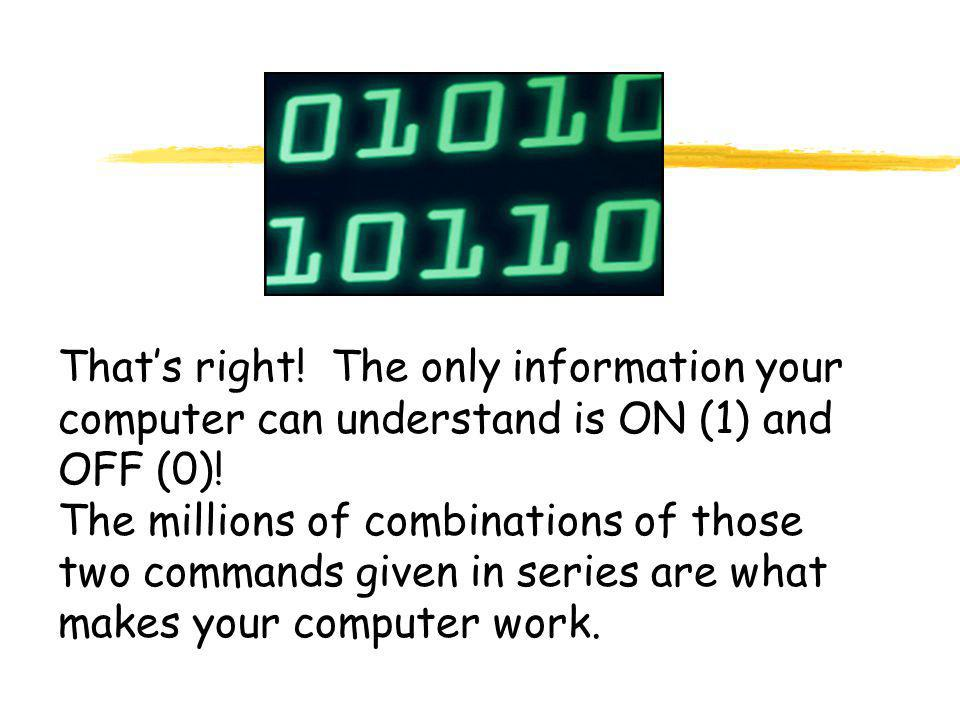 That's right. The only information your computer can understand is ON (1) and OFF (0).