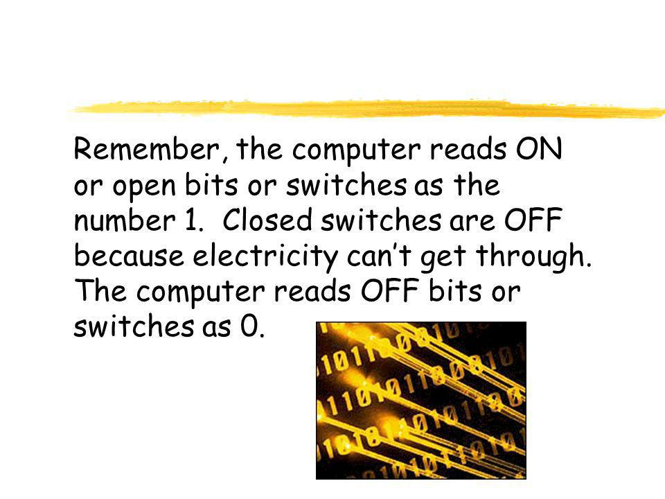 Remember, the computer reads ON or open bits or switches as the number 1.
