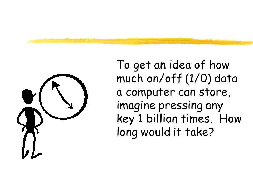 To get an idea of how much on/off (1/0) data a computer can store, imagine pressing any key 1 billion times.