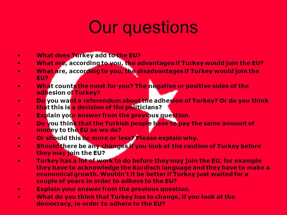 Our questions What does Turkey add to the EU