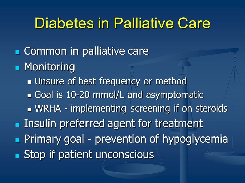 Diabetes in Palliative Care