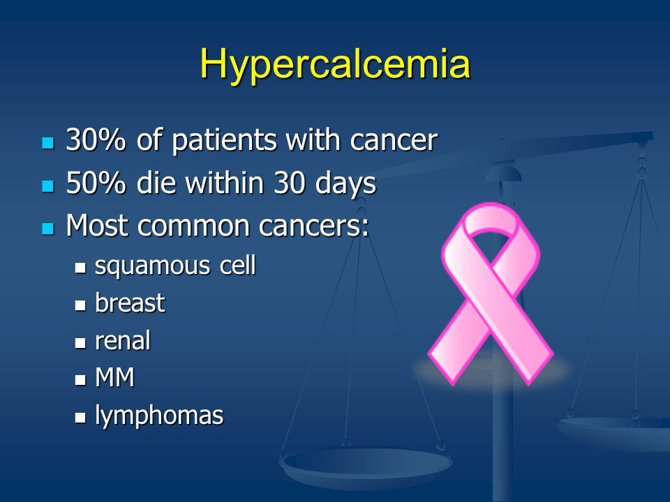 Hypercalcemia 30% of patients with cancer 50% die within 30 days