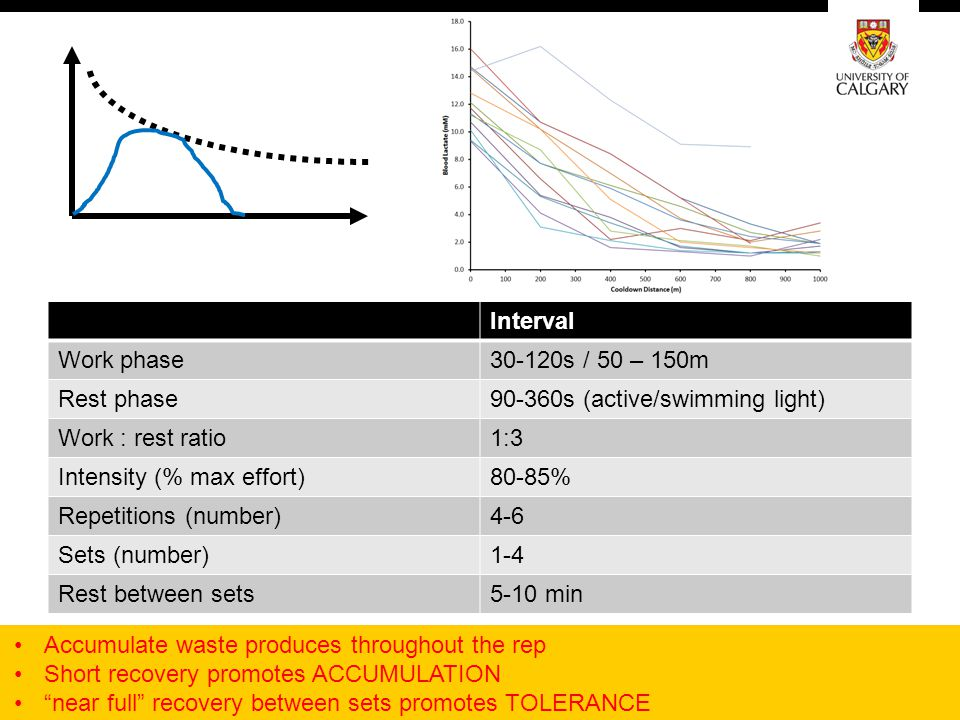 Interval Work phase. 30-120s / 50 – 150m. Rest phase. 90-360s (active/swimming light) Work : rest ratio.
