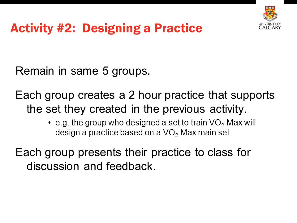 Activity #2: Designing a Practice