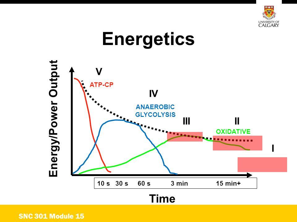 Energetics Energy/Power Output Time V IV III II I SNC 301 Module 15