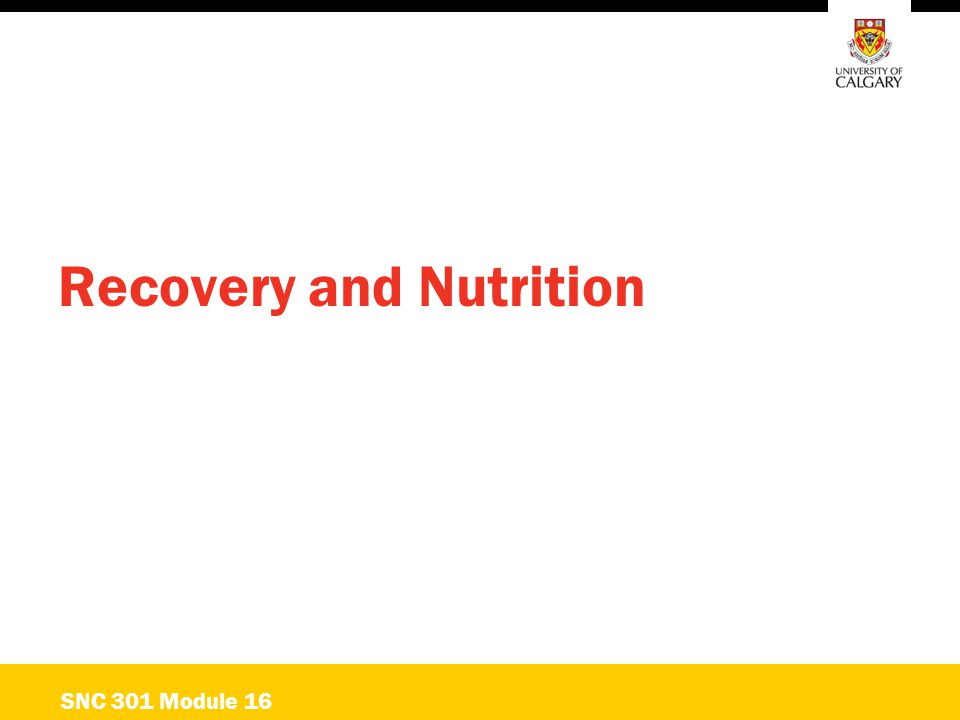 Recovery and Nutrition