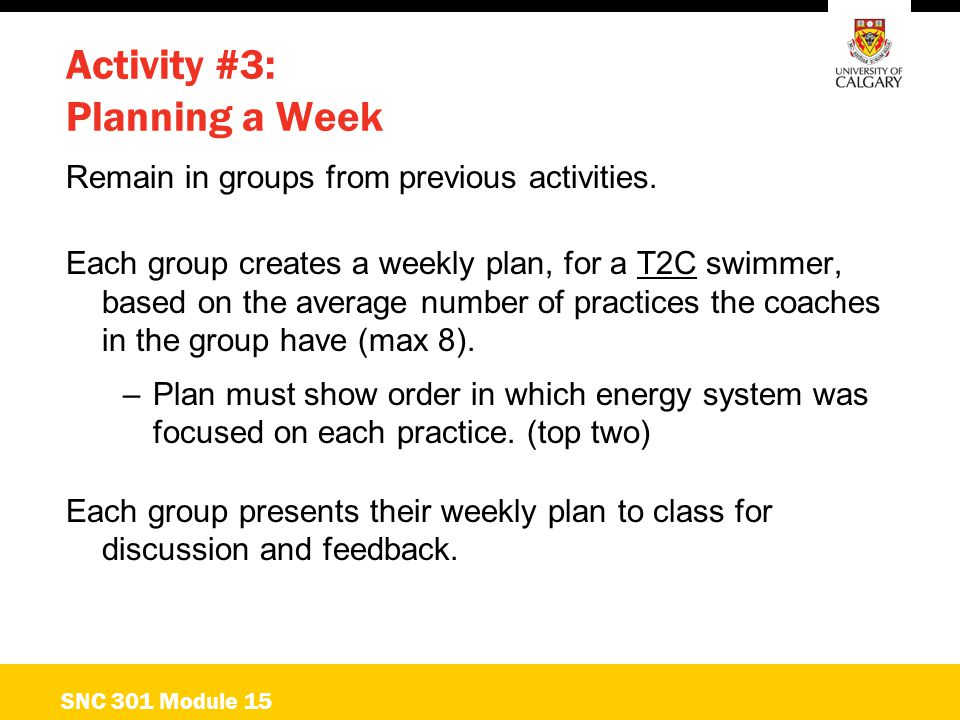 Activity #3: Planning a Week