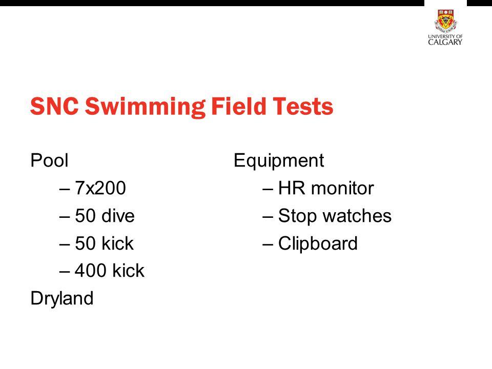 SNC Swimming Field Tests