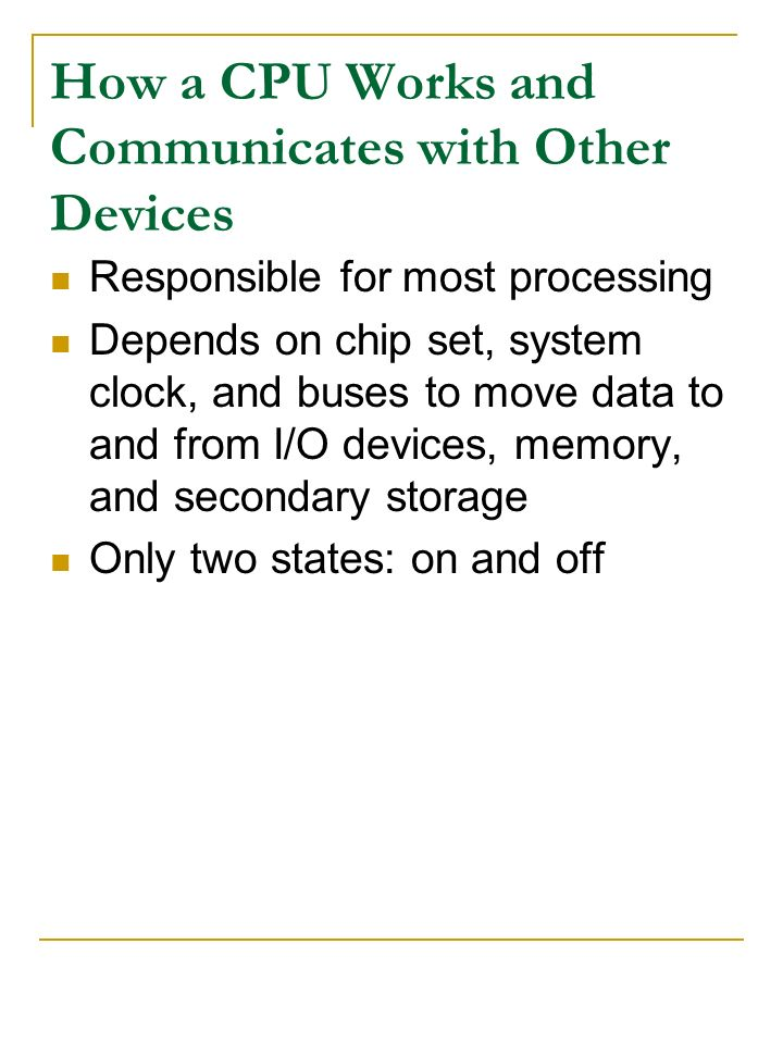 How a CPU Works and Communicates with Other Devices