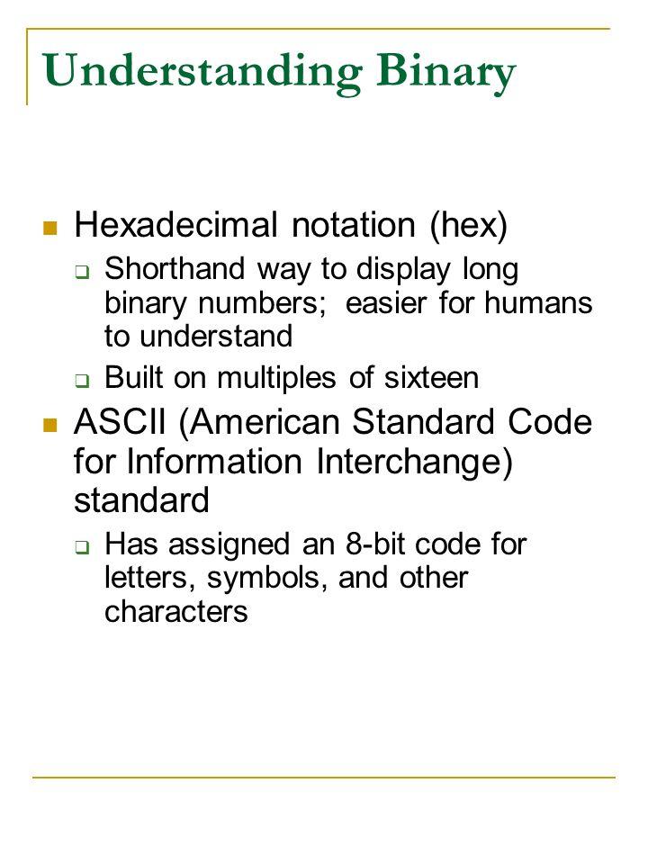 Understanding Binary Hexadecimal notation (hex)