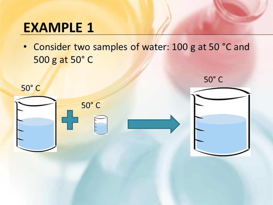 Example 1 Consider two samples of water: 100 g at 50 °C and 500 g at 50° C 50° C 50° C 50° C
