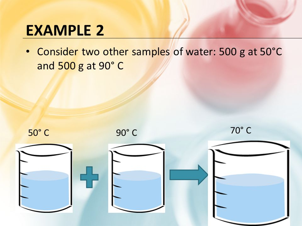 Example 2 Consider two other samples of water: 500 g at 50°C and 500 g at 90° C 70° C 50° C 90° C