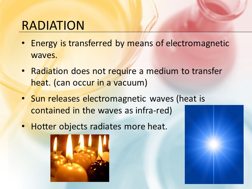 Radiation Energy is transferred by means of electromagnetic waves.