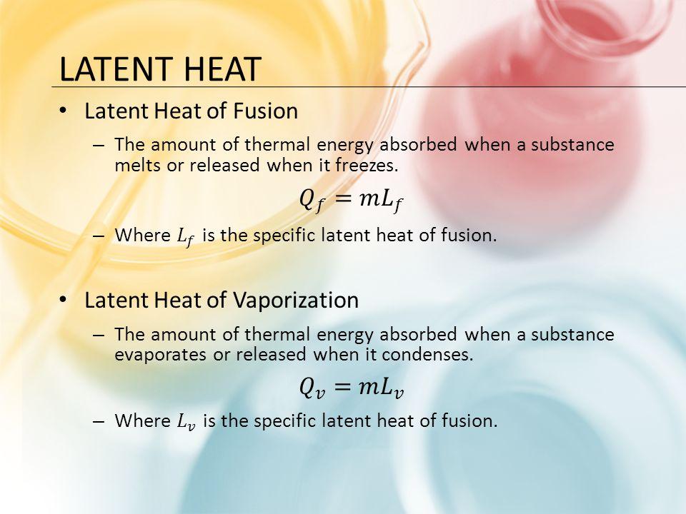 Latent Heat Latent Heat of Fusion 𝑄 𝑓 =𝑚 𝐿 𝑓