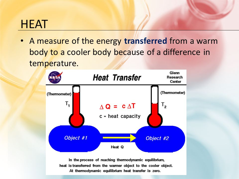 Heat A measure of the energy transferred from a warm body to a cooler body because of a difference in temperature.