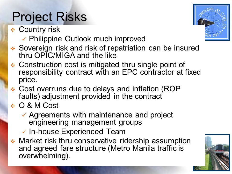 Project Risks Country risk Philippine Outlook much improved