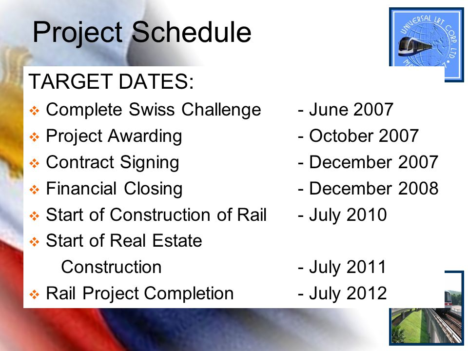Project Schedule TARGET DATES: Complete Swiss Challenge - June 2007