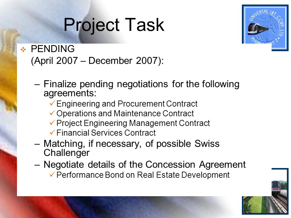 Project Task PENDING (April 2007 – December 2007):
