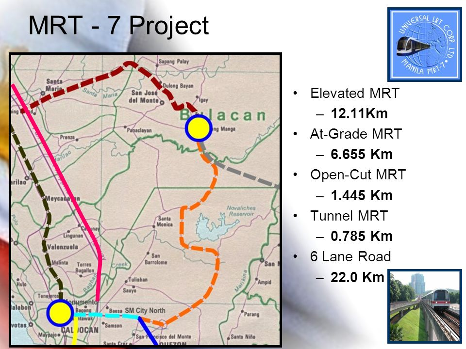 MRT - 7 Project Elevated MRT 12.11Km At-Grade MRT 6.655 Km