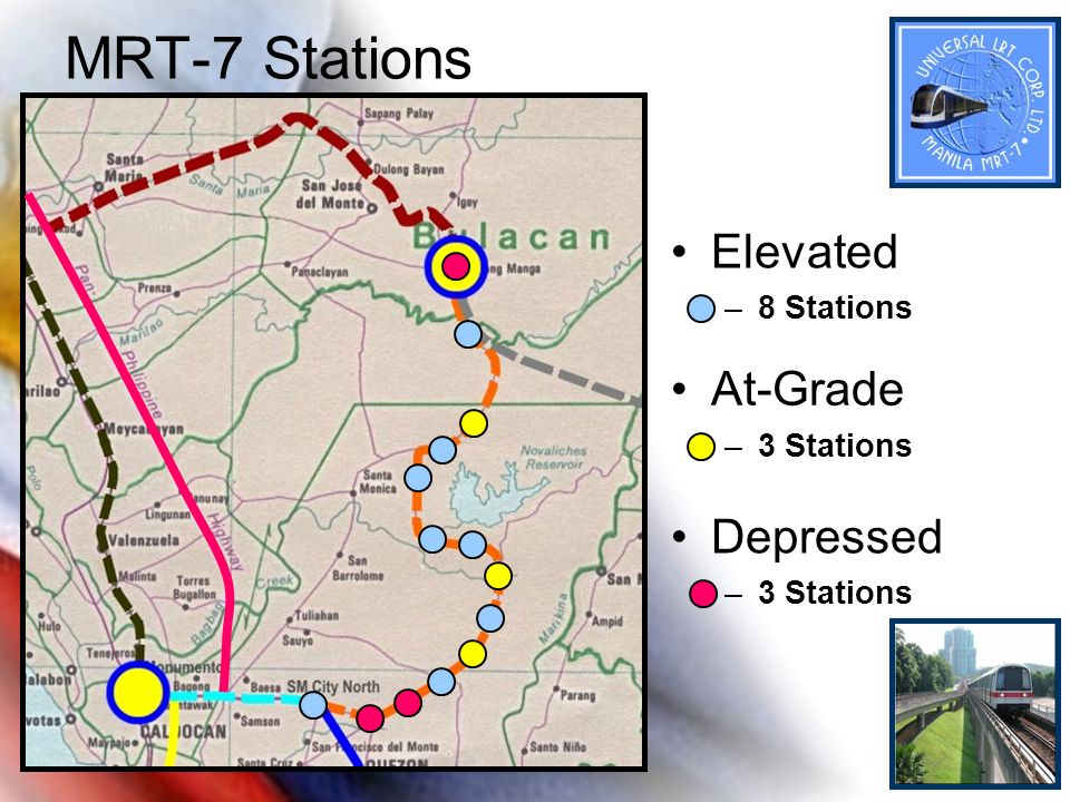 MRT-7 Stations Elevated At-Grade Depressed 8 Stations 3 Stations