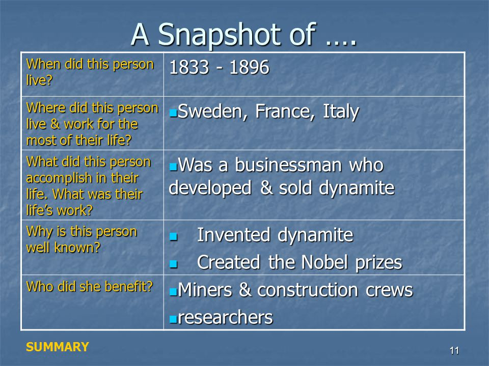 A Snapshot of …. 1833 - 1896 Sweden, France, Italy