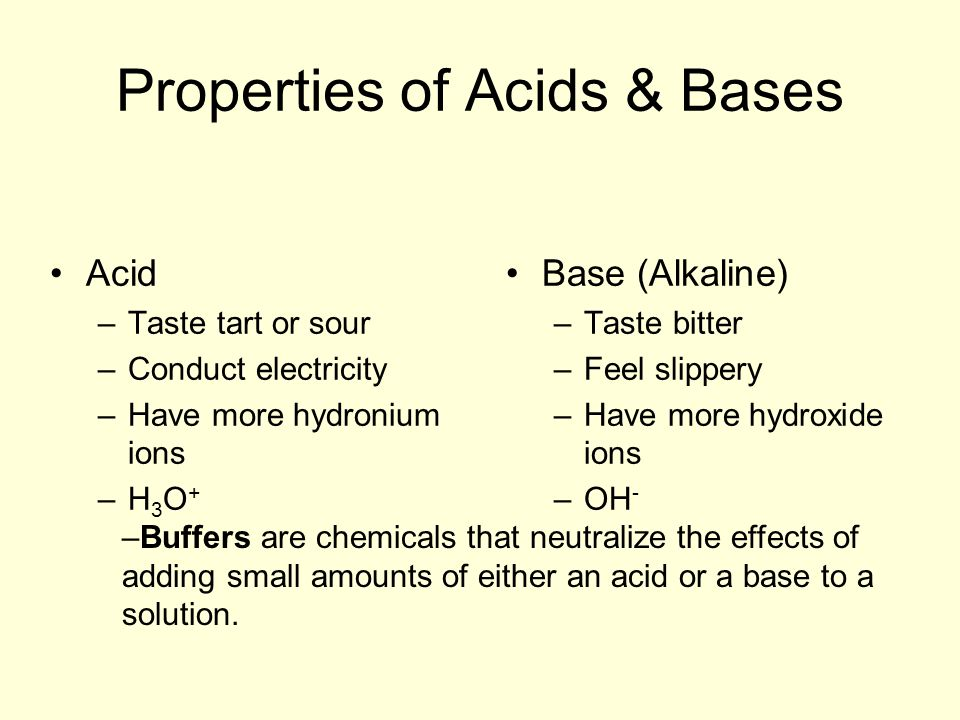 Properties of Acids & Bases