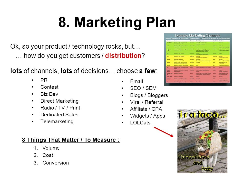 8. Marketing Plan Ok, so your product / technology rocks, but…