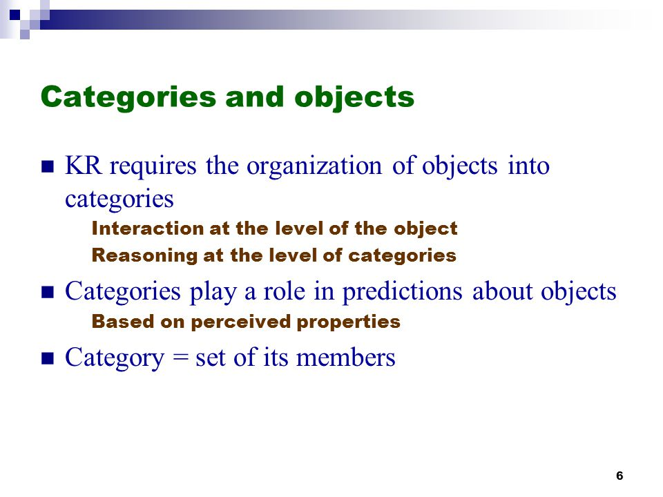 Categories and objects