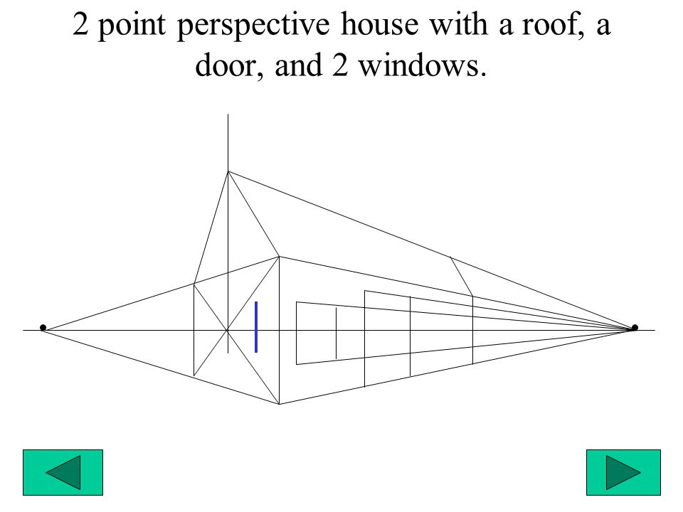 2 point perspective house with a roof, a door, and 2 windows.