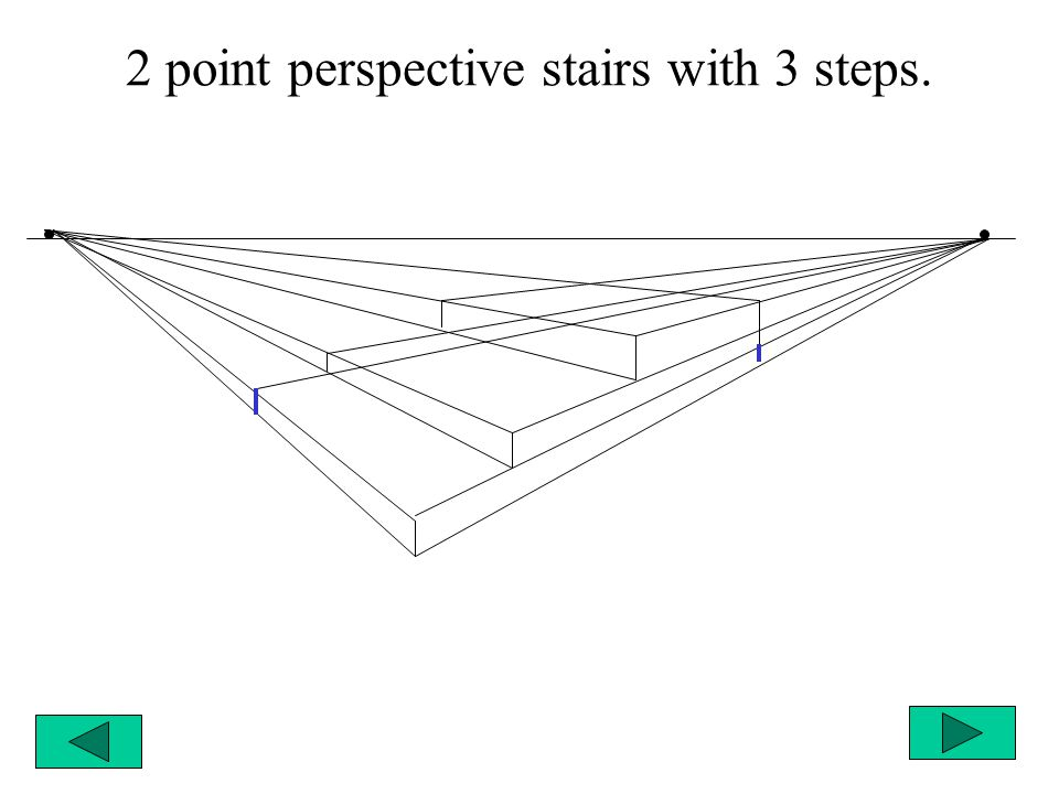 2 point perspective stairs with 3 steps.