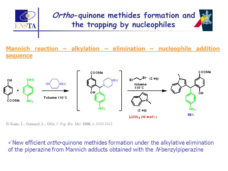 Ortho-quinone methides formation and the trapping by nucleophiles