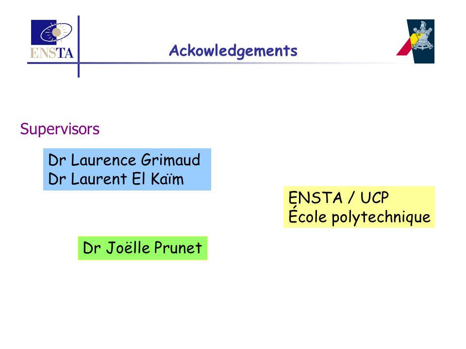 Ackowledgements Supervisors. Dr Laurence Grimaud. Dr Laurent El Kaïm. ENSTA / UCP. École polytechnique.