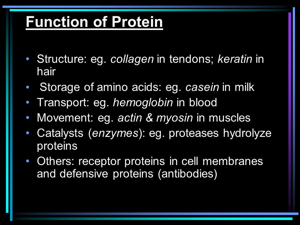 Function of Protein Structure: eg. collagen in tendons; keratin in hair. Storage of amino acids: eg. casein in milk.