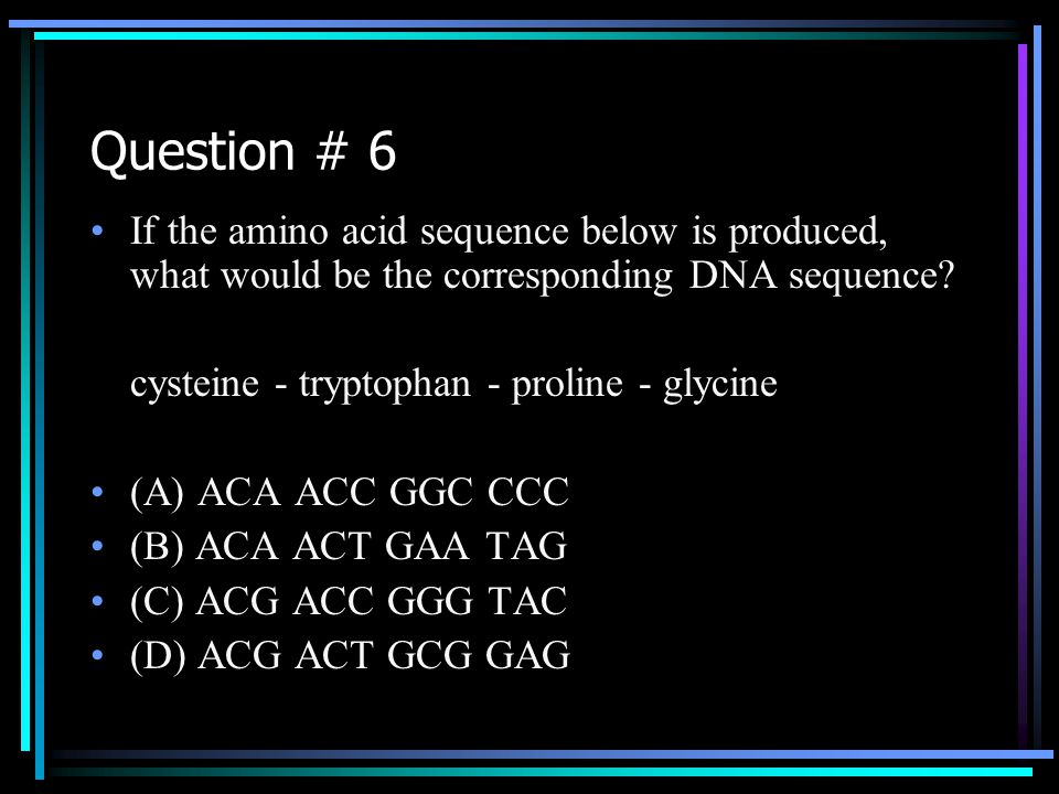 Question # 6 If the amino acid sequence below is produced, what would be the corresponding DNA sequence