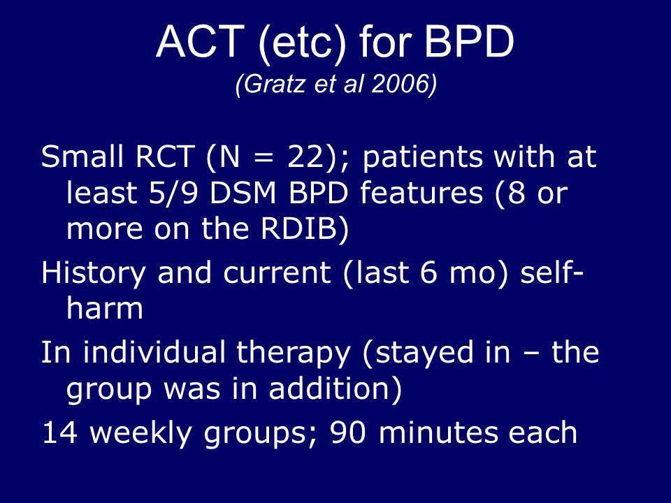ACT (etc) for BPD (Gratz et al 2006)