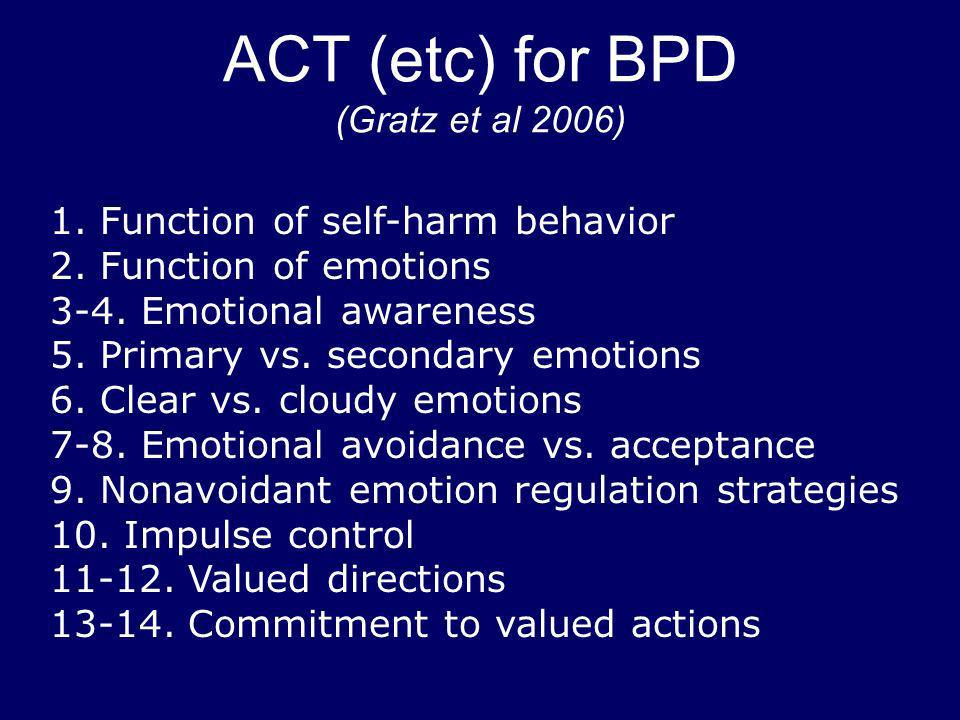 ACT (etc) for BPD (Gratz et al 2006)