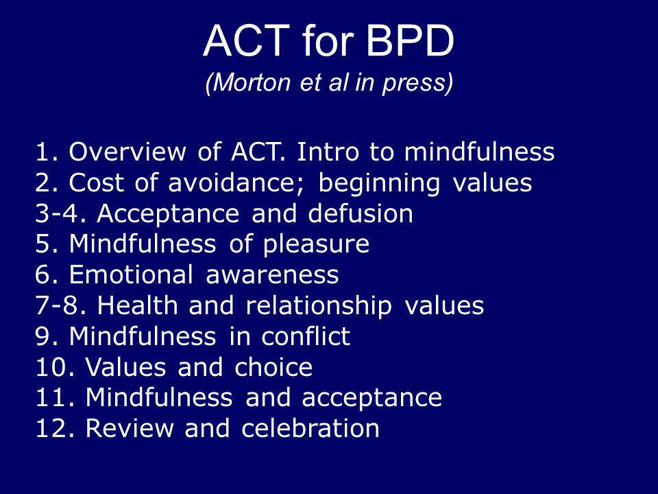 ACT for BPD (Morton et al in press)