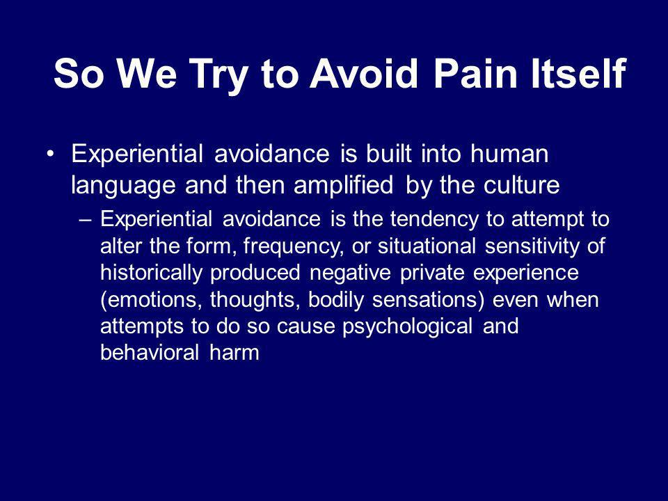 So We Try to Avoid Pain Itself