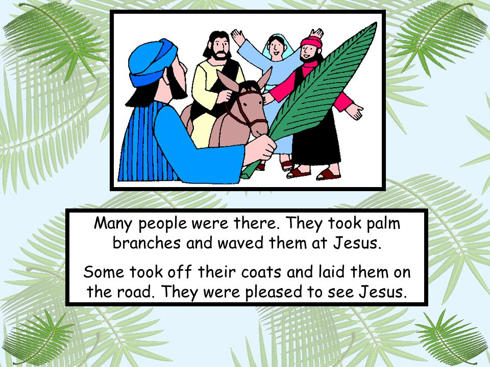 Many people were there. They took palm branches and waved them at Jesus.